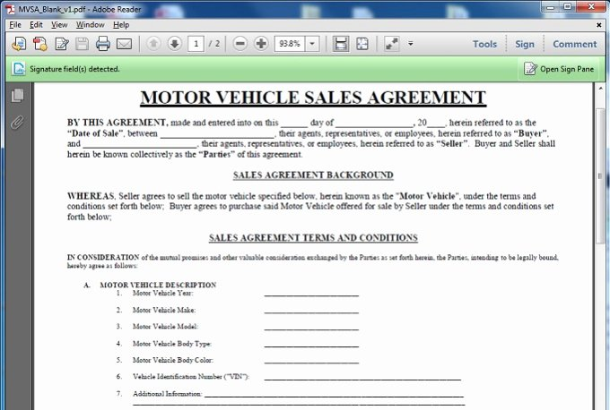 Car Sale Agreement Template Best Of Give You A Motor Vehicle Sales Contract Template