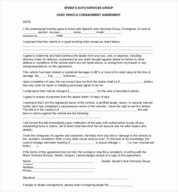 Car Sale Agreement Template Inspirational 13 Consignment Agreement Templates – Word Pdf