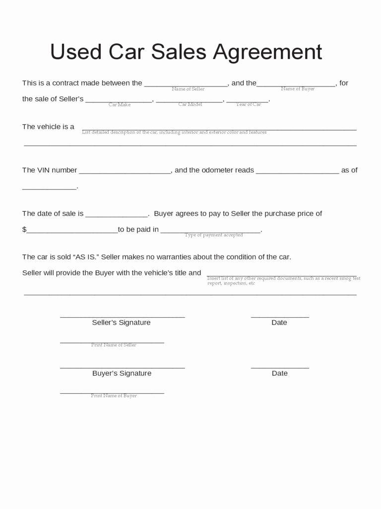 Car Sale Agreement Template Inspirational Car Sale Contract form 5 Free Templates In Pdf Word Excel
