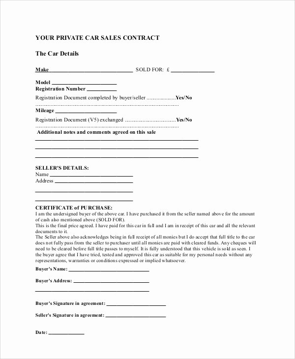 Car Sale Agreement Template Inspirational Sample Sales Contract Agreement 10 Examples In Word Pdf