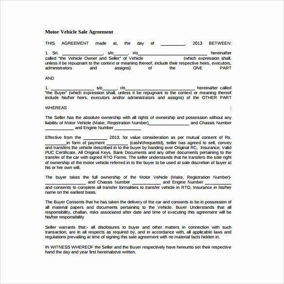 Car Sale Agreement Template Lovely Sales Agreement Template