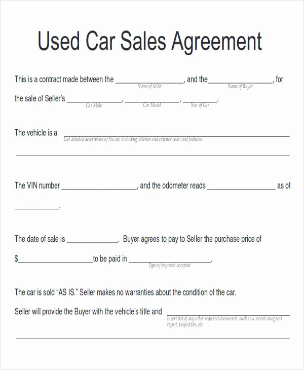 Car Sale Agreement Template Luxury Sample Car Sales Contract 12 Examples In Word Pdf