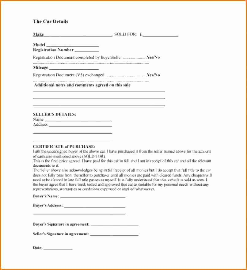 Car Sale Agreement Template New 8 Receipt for Car Sale