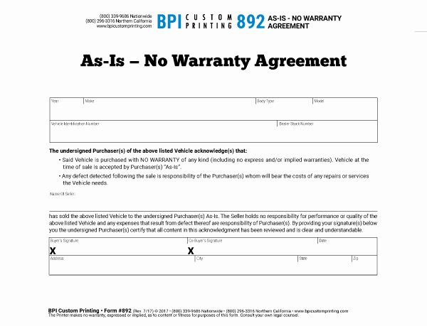Car Sale Agreement Template New as is No Warranty Agreement Bpi Dealer Supplies