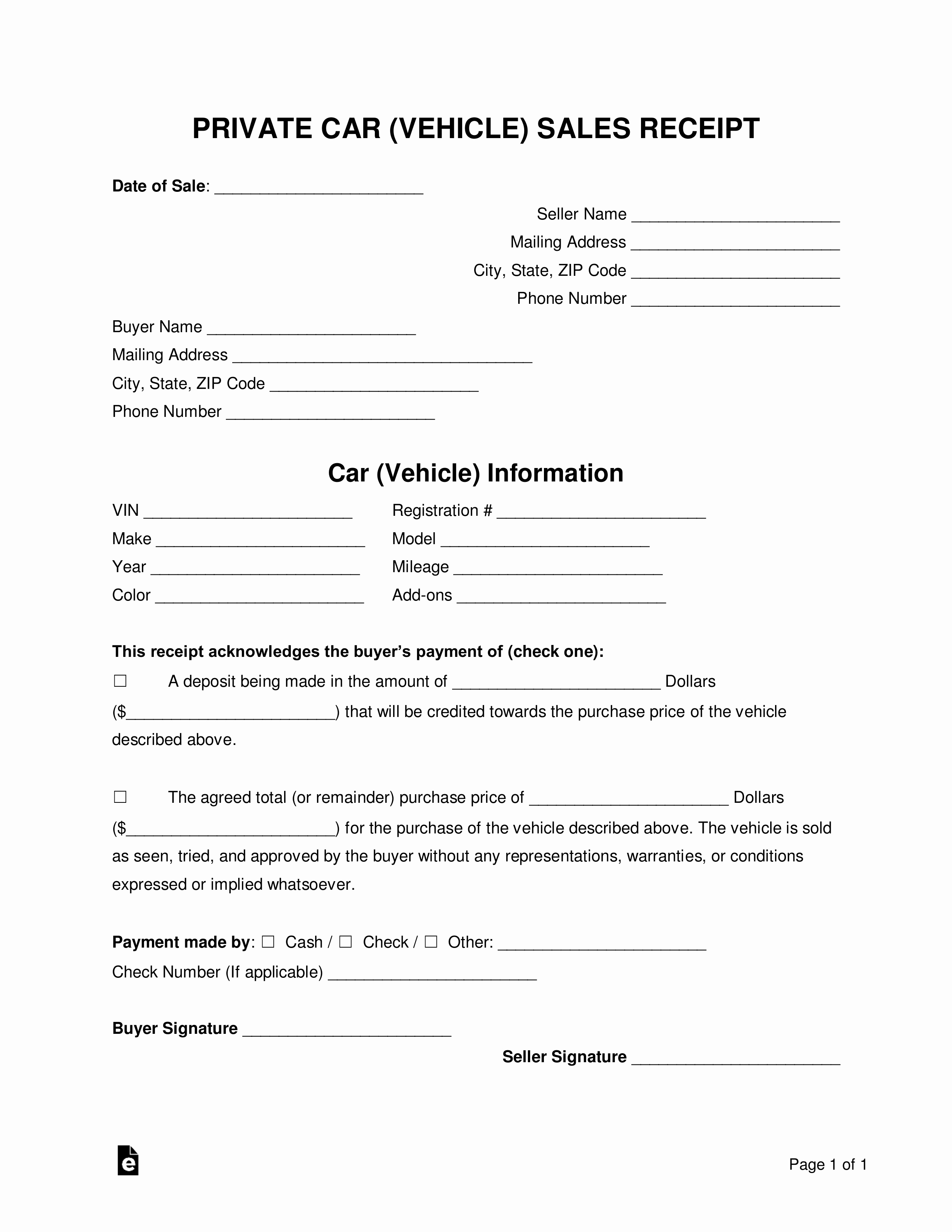 Car Sale Receipt Template Awesome Free Vehicle Private Sale Receipt Template Pdf