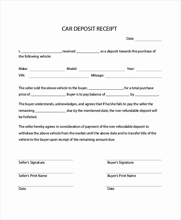 Car Sale Receipt Template Beautiful Car Payment Receipts 9 Examples In Word Pdf