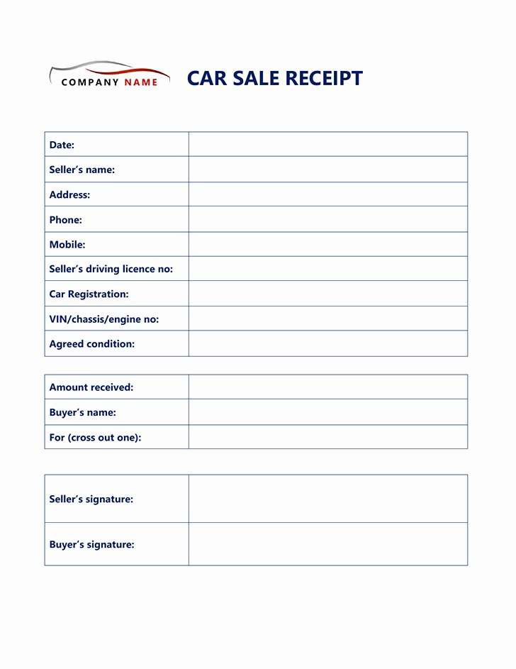 Car Sale Receipt Template Best Of Free Used Car Receipt