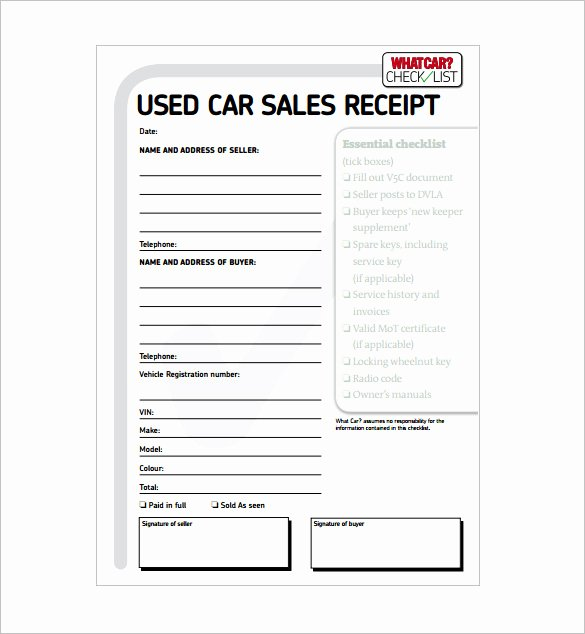Car Sale Receipt Template Elegant 28 Sales Receipt Templates Word Pdf Excel Apple