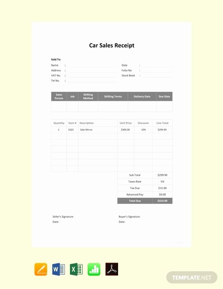 Car Sale Receipt Template Fresh Free Sales Receipt Template Download 84 Receipts In