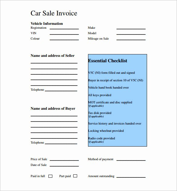 Car Sale Receipt Template Inspirational Used Car Sales Invoice Template Uk