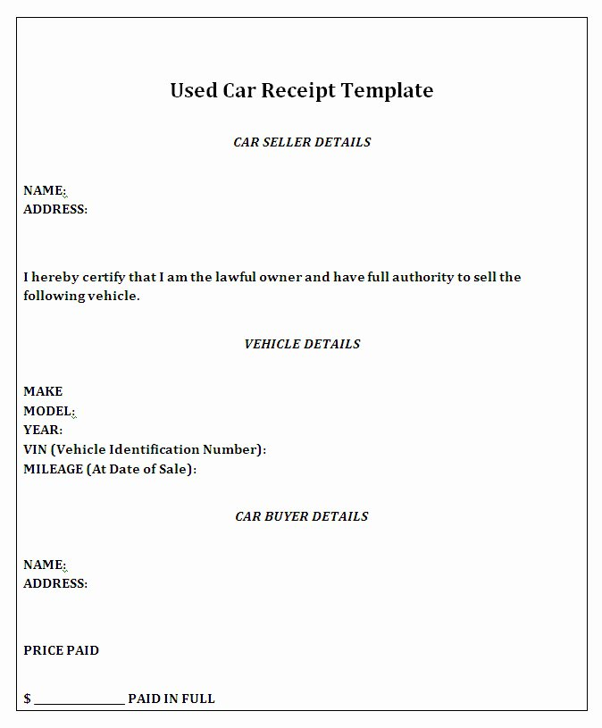 Car Sale Receipt Template Unique Private Car Sale Receipt Template Free