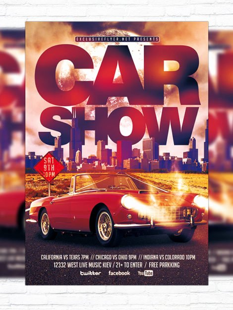 Car Show Flyer Template Awesome Car Show – Premium Flyer Template Cover