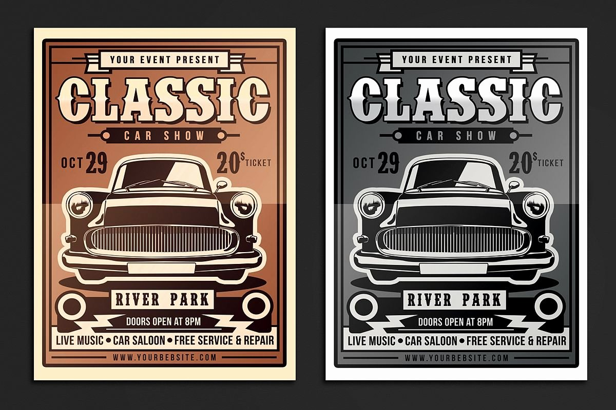 Car Show Flyer Template Beautiful Classic Car Show Flyer