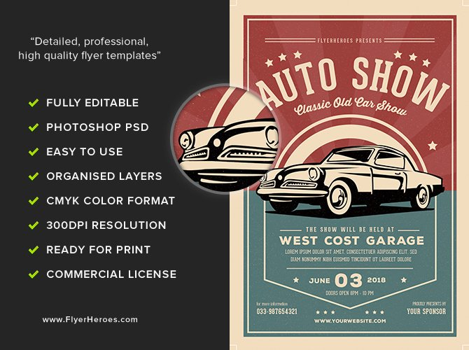 Car Show Flyer Template Elegant Old Classic Car Show Flyer Template Flyerheroes