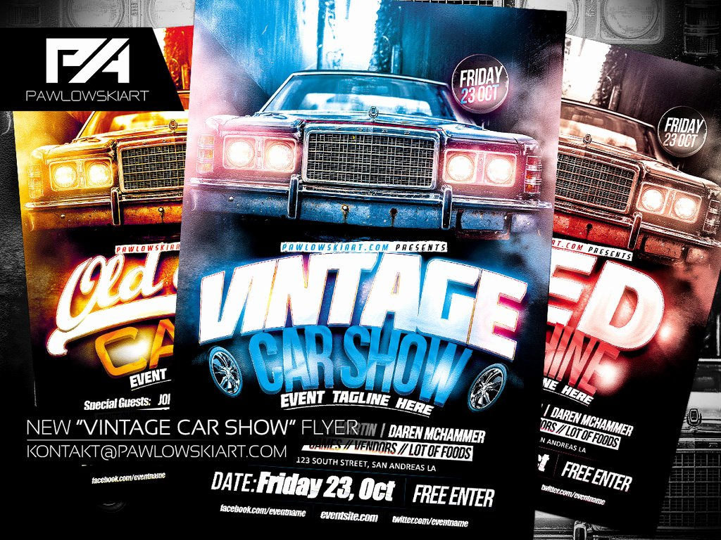 Car Show Flyer Template Fresh Vintage Car Show event Flyer Template by Pawlowskiart On