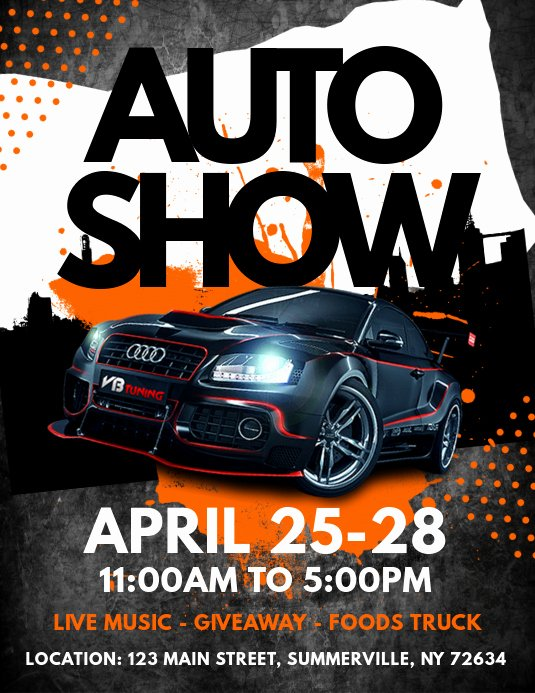 Car Show Flyer Template Inspirational Auto Show Flyer Template