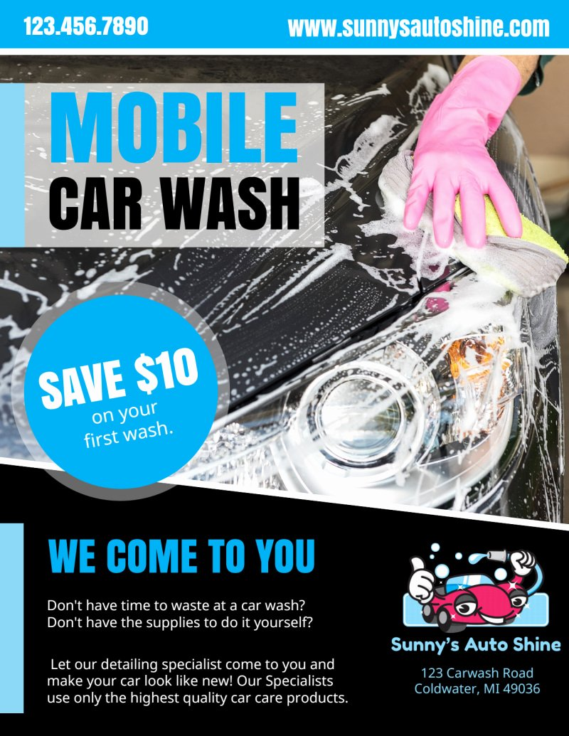 Car Wash Flyer Template Fresh Mobile Car Wash Flyer Template