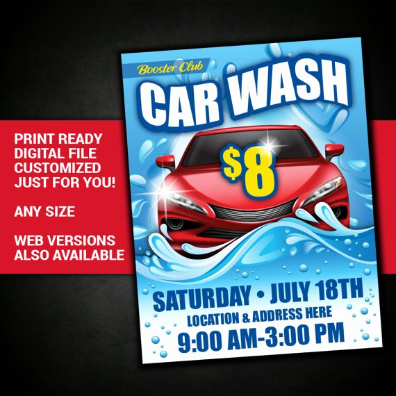 Car Wash Fundraiser Flyer Template Elegant Car Wash Car Wash Flyer Fundraiser Club event Charity