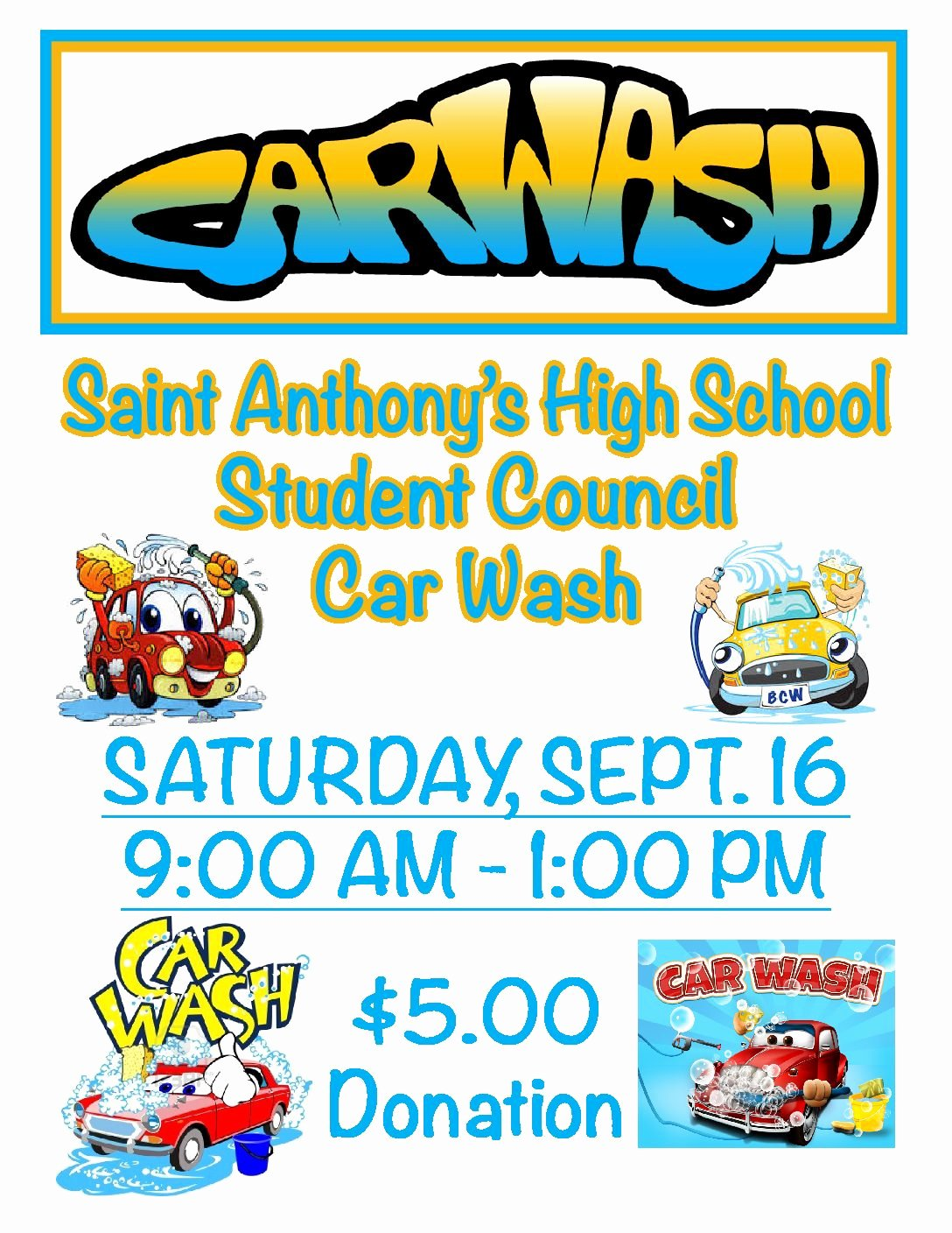 Car Wash Fundraiser Flyer Template Elegant Wel E to Saint Anthony S High School south Hungtington