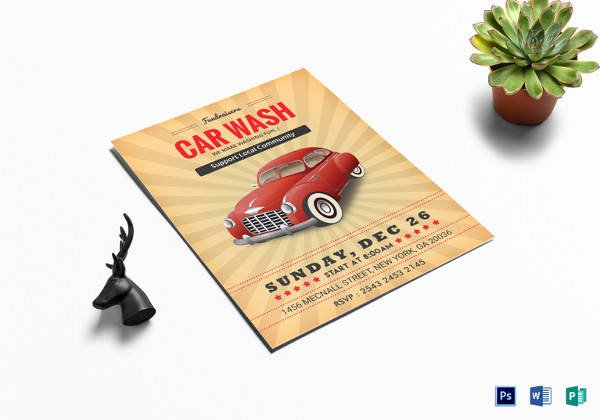 Car Wash Fundraiser Flyer Template Lovely 26 Car Wash Flyers Psd Word Psd Ai Eps Vector