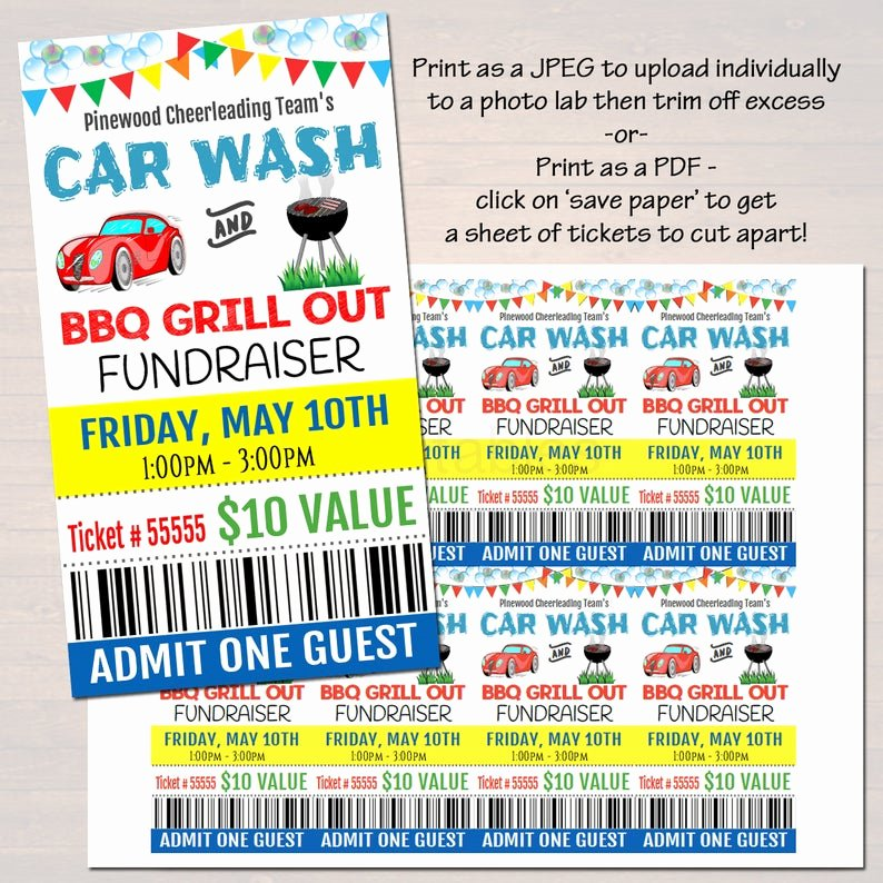 Car Wash Fundraiser Flyer Template Luxury Editable Car Wash Fundraiser Flyer Ticket Set Pto Pta