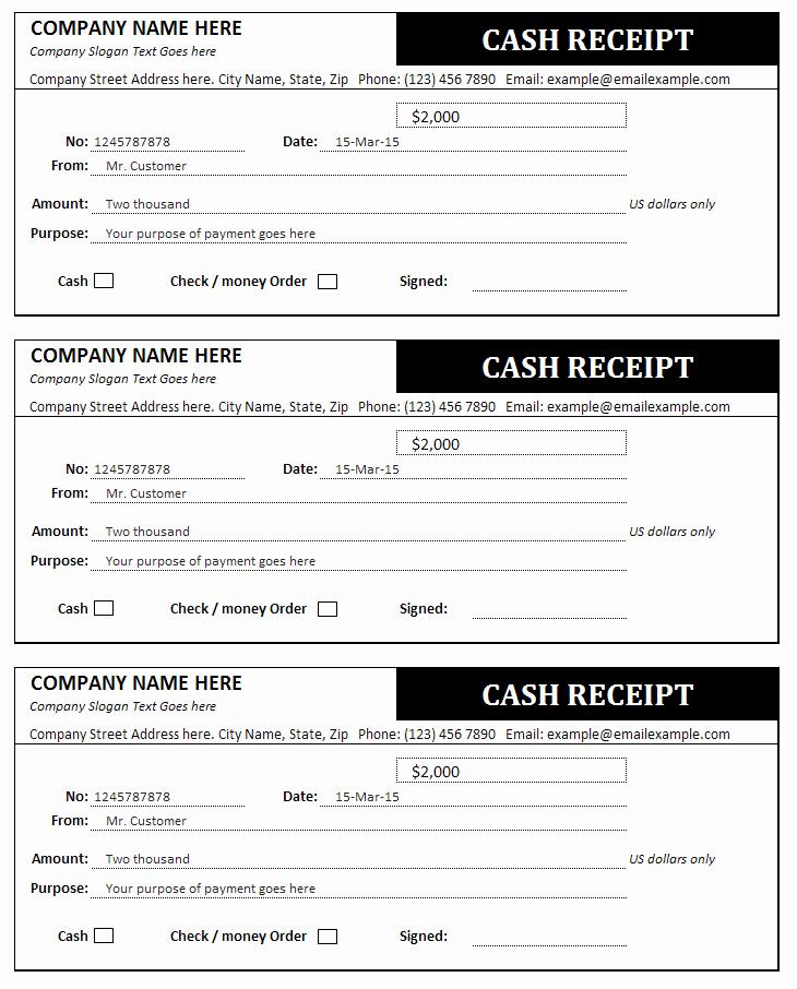 Cash Receipt Template Pdf Unique Cash Receipt Template