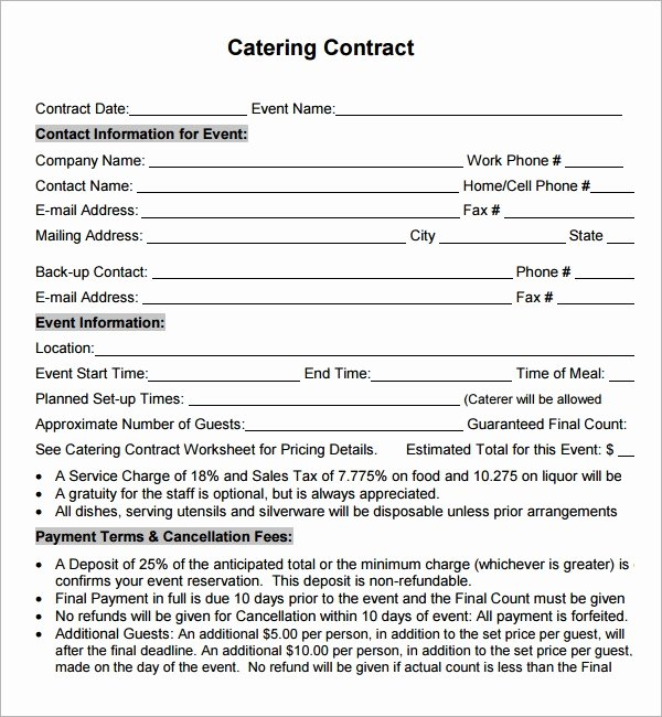 Catering Contract Template Free Awesome Catering Contract 7 Free Pdf Download
