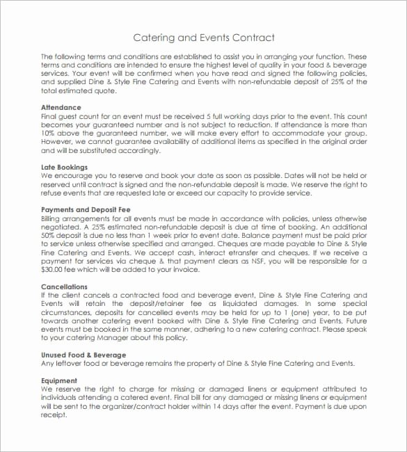 Catering Contract Template Free Beautiful Catering Contract Templates Word Excel Samples