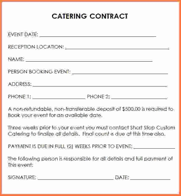 Catering Contract Template Free Beautiful Wedding Catering Contract Sample Catering Contract