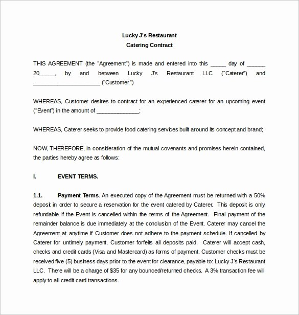 Catering Contract Template Free Best Of Free 13 Sample Catering Contract Templates In Pdf