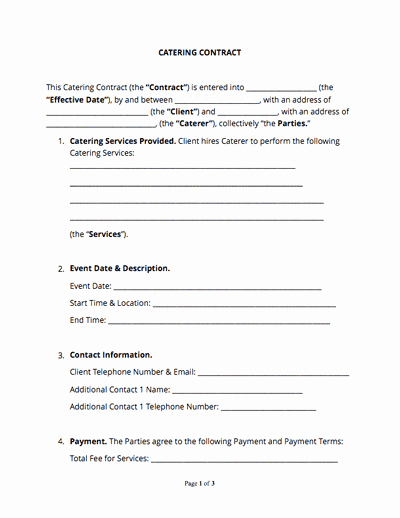 Catering Contract Template Free Elegant Contract Templates and Agreements with Free Samples