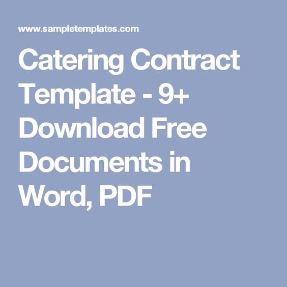 Catering Contract Template Free Elegant Pinterest • the World's Catalog Of Ideas