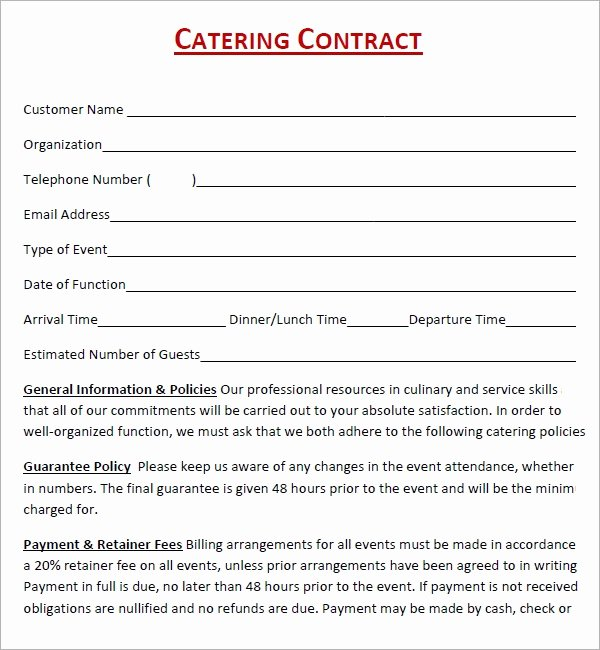 Catering Contract Template Free Fresh Catering Contract 7 Free Pdf Download