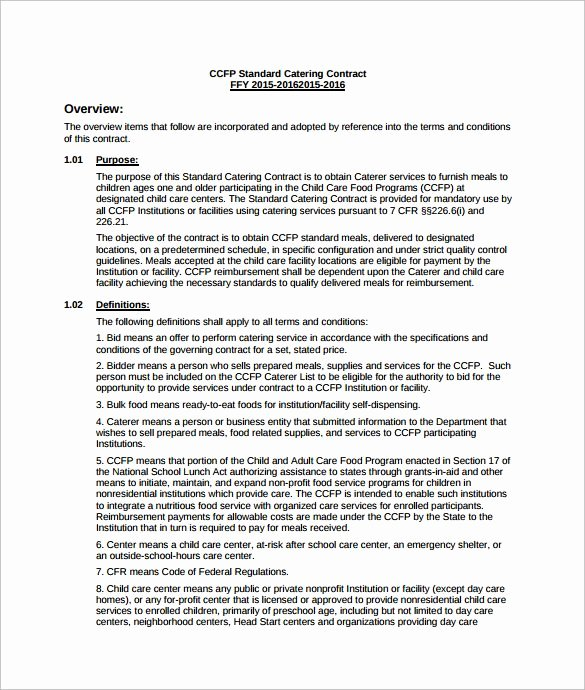Catering Contract Template Free Fresh Catering Services Contract Pdf Template Free Download