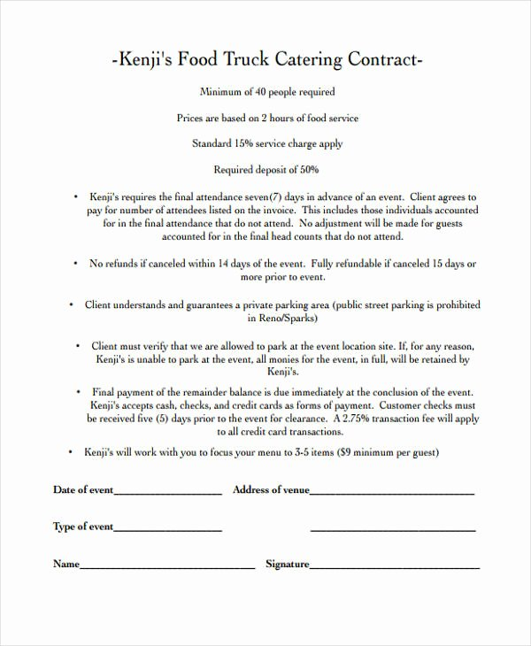 Catering Contract Template Free Inspirational 13 Catering Contract Templates Apple Pages Google Docs