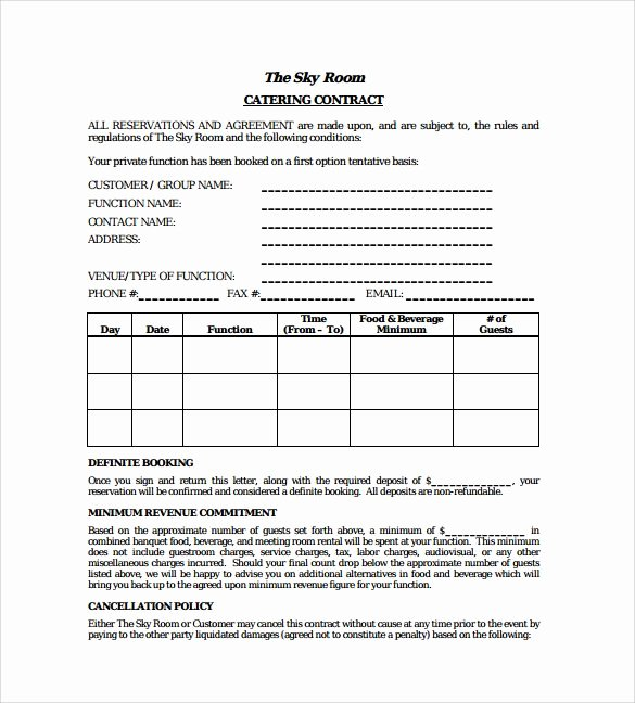 Catering Contract Template Free Inspirational Standard Catering Contract Pdf Template Free Download