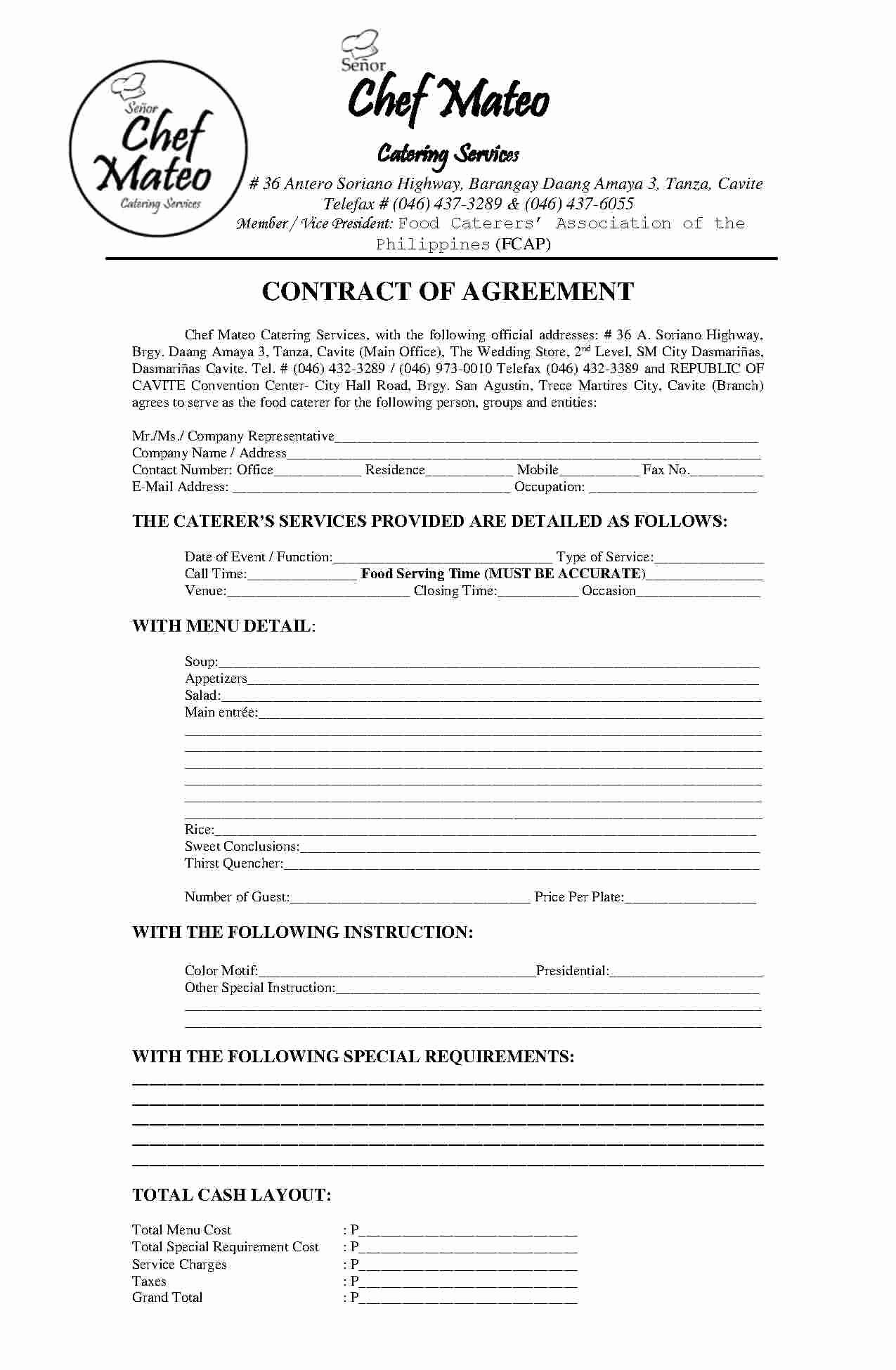 Catering Contract Template Free Lovely Download Catering Contract Style 5 Template for Free at