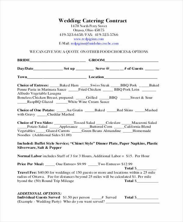 Catering Contract Template Free Lovely Free 7 Sample Catering Contract forms In Pdf