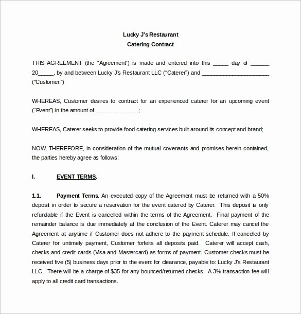 Catering Contract Template Free Lovely Simple Contract Template 9 Download Free Documents In