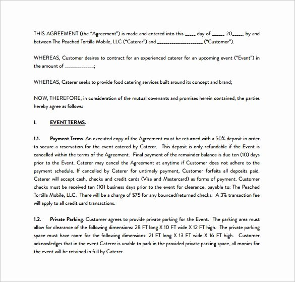 Catering Contract Template Free Luxury Sample Catering Contract Pdf Template Free Download