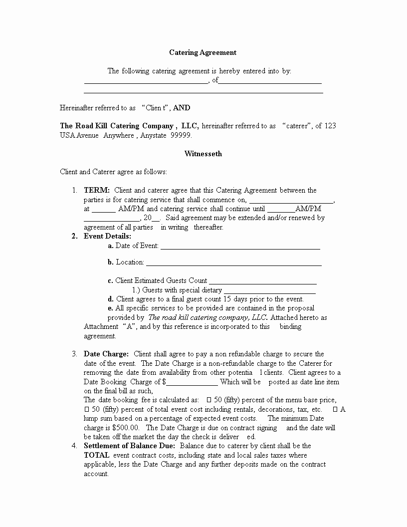 Catering Contract Template Free New Catering Agreement