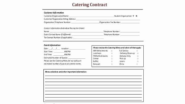 Catering Contract Template Free New Catering Contract form Samples 8 Free Documents In Word