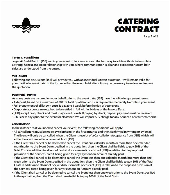 Catering Contract Template Free New Catering Contract Template 9 Download Free Documents In