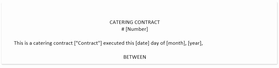 Catering Contract Template Free Unique Free Catering Contract Template In Pdf and Word