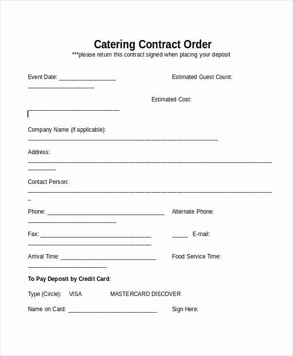 Catering Contracts Template Free Awesome 33 Contract Templates Word Docs Pages