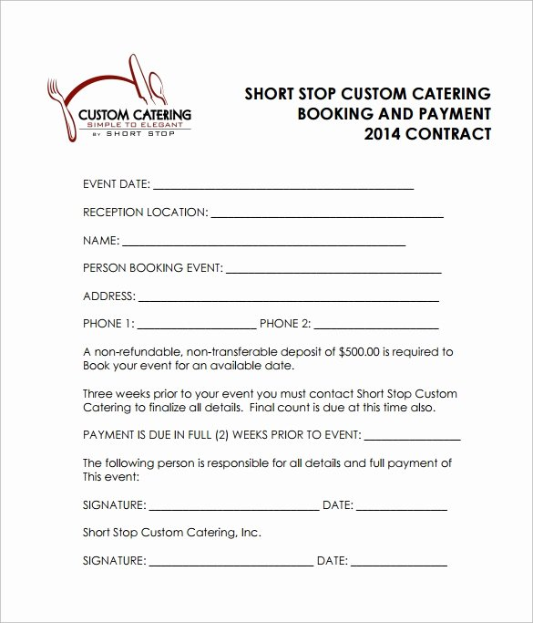 Catering Contracts Template Free Awesome Catering Contract Template 9 Download Free Documents In