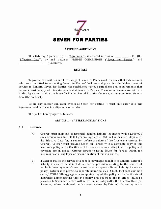 Catering Contracts Template Free Beautiful Catering Contract