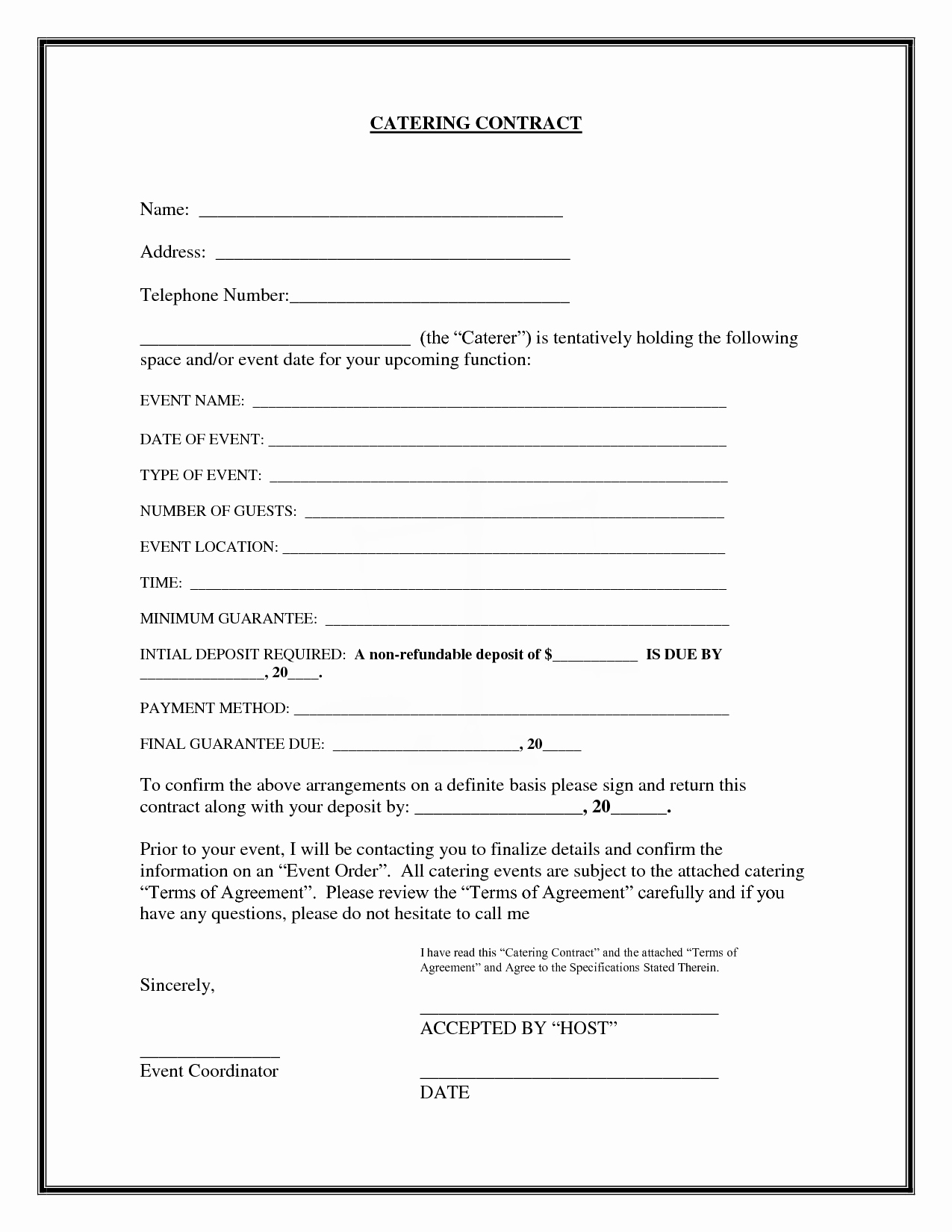 Catering Contracts Template Free Elegant 20 Printable Blank Contract Template Examples Thogati