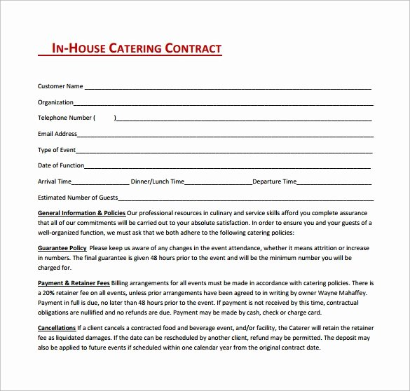 Catering Contracts Template Free Elegant 6 Catering Contract Templates Word Pdf Word Excel formats