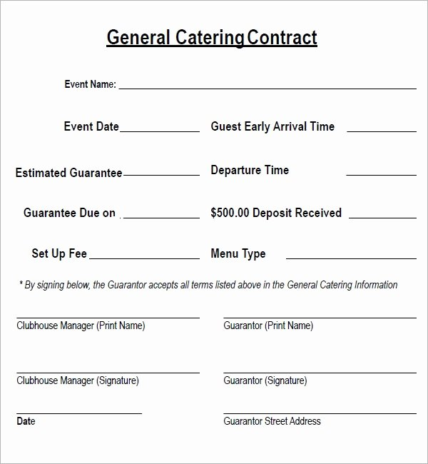 Catering Contracts Template Free Elegant Catering Contract 7 Free Pdf Download